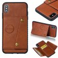 For iPhone XS Max 6.5 inch Phone Case Protective Back Cover with Card Holder Bracket, brown shell